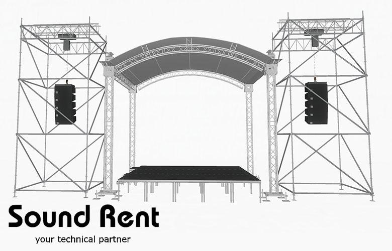 Аренда арочной сцены с портальными башнями Layher Grand Support (суперлифт) 5х5