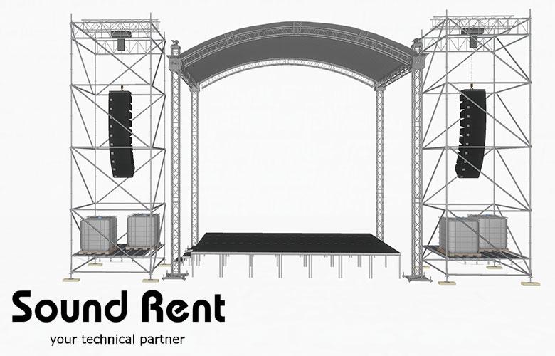 Аренда арочной сцены с портальными башнями Layher Grand Support (суперлифт) 7,5х5
